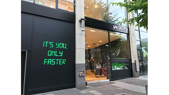 Specialized's pop-up retail shop is located just off Düsseldorf's busy Königsallee, where the Tour de France will start on July 1