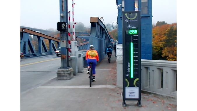 Our tour brought us across the Fremont Bridge several times this week. Each time, we triggered this bike counter, which starts at zero each morning.