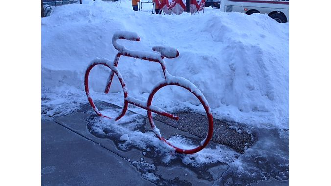 Frostybike: A rack in front of QBP headquarters greets attendees Saturday morning.