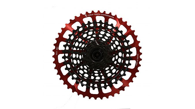 The GCX 46-tooth cog in red.
