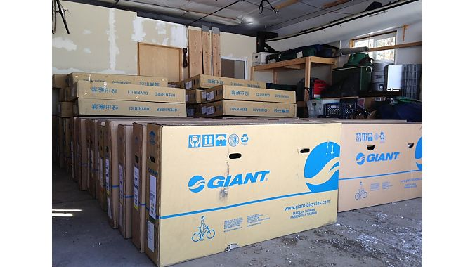 Liv/giant bikes ready for shipment.