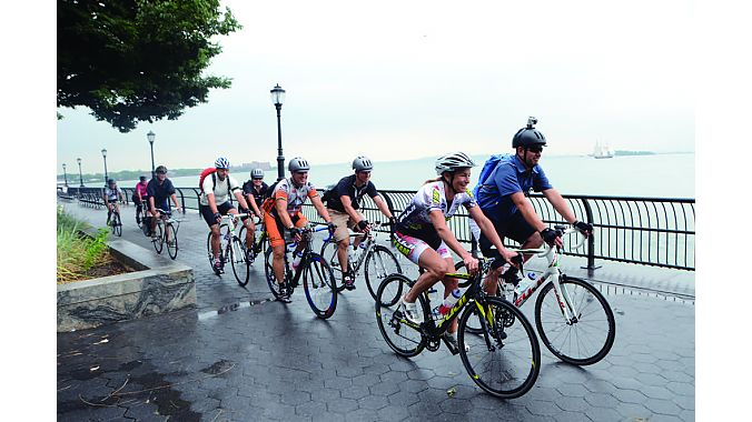 New York Dealer Tour editors and sponsors spin along the scenic West Side Greenway.