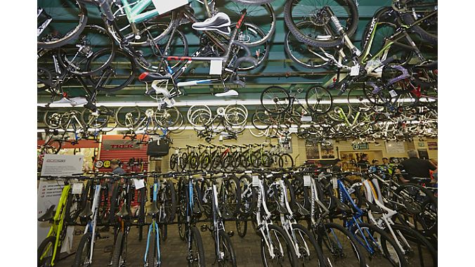 Much of Gregg's has 18-foot ceilings, allowing storage of many hundred built bikes.