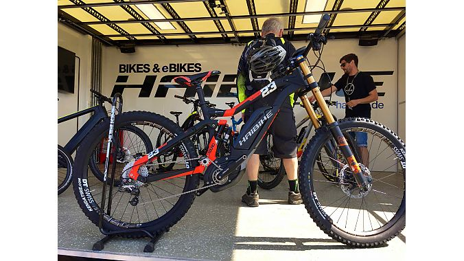Haibike's 200-millimeter-travel e-bike turned heads at Demo Day. While Haibike does have a long-travel downhill bike in production in Europe, this version was built for German rider Guido Tschugg, who is the company's first gravity racer.