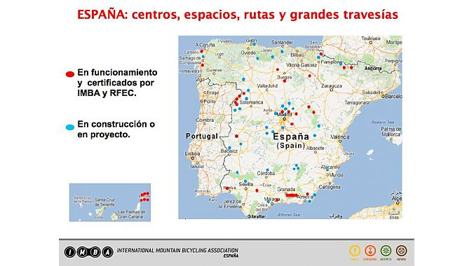 IMBA projects in Spain, red indicates completed projects; blue indicates projects in progress