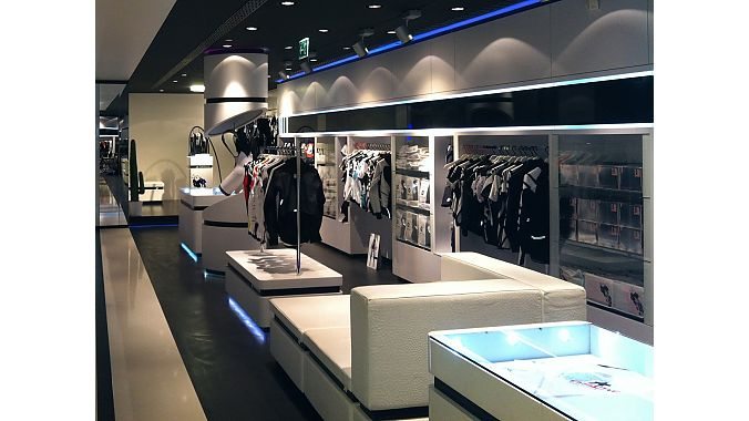The Assos company store in Lugano, Switzerland, a few miles from the company headquarters.