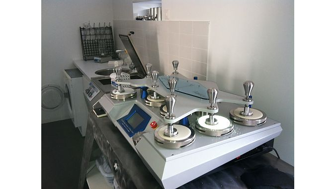 A fabric testing machine at the Assos headquarters.