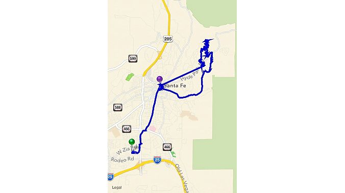 The map of a ride as shown on a phone after a ride is completed. Notice the markers for where photos were taken. On this ride, I mistakenly had the GPS turned off on my phone, so the mapping is imprecise.
