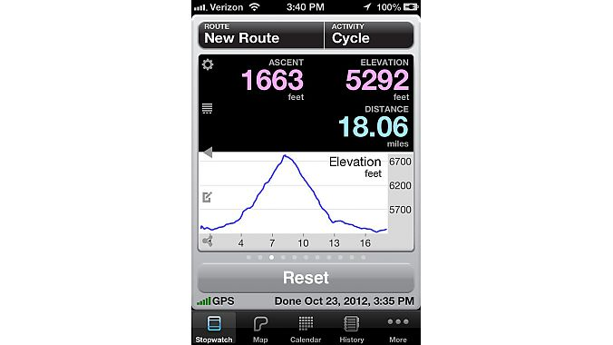 One of Cyclemeter's 'Stopwatch' screens
