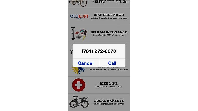 "The ""Bike Line"" link brings up Cycle Loft's phone number."