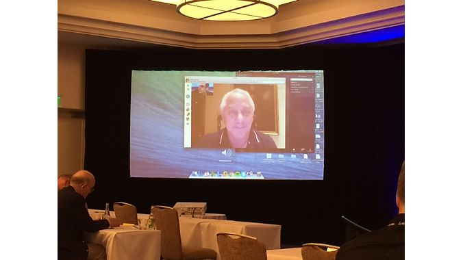 Tour de France champion Greg LeMond checked in on the conference via Skype after a family emergency prevented him from attending to deliver a keynote address.