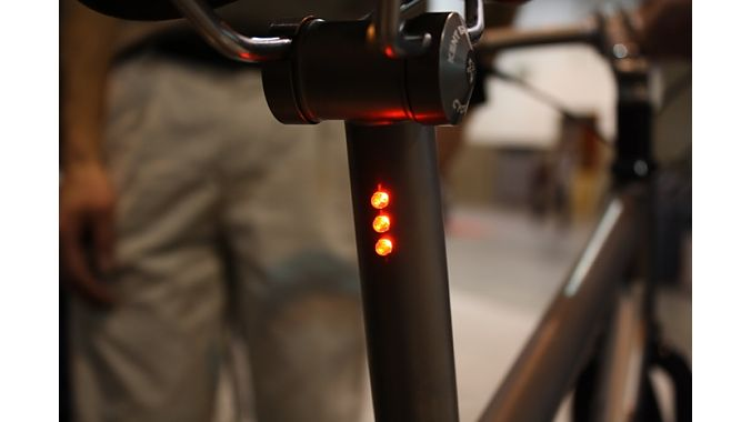 Steve Potts ran internal wires from a front generator hub to LEDs inside a seatpost on this custom commuter.