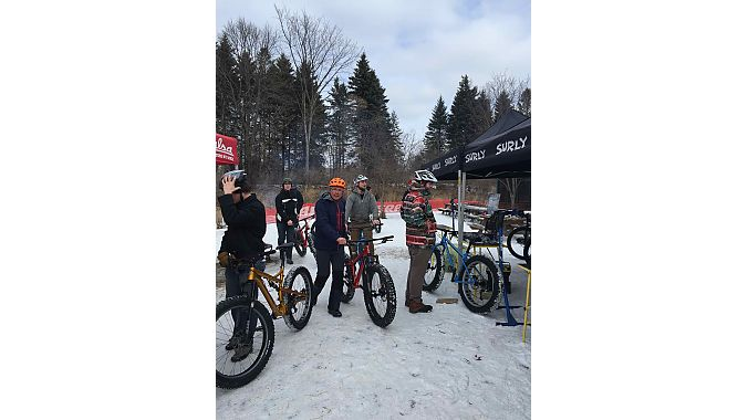 Retailers demo'ed fat bikes on a test track adjacent to the QBP headquarters in Bloomington, and participated in a first-ever biathlon event. The course included a wooden wall ride and other features and a tennis ball throwing target contest.