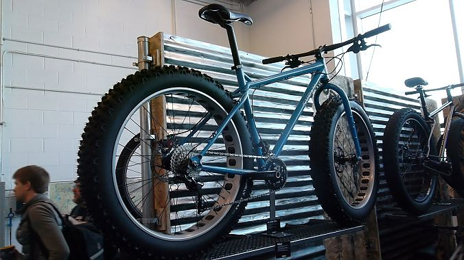 "The Ice Cream Truck is a new fat bike platform for Surly. The chromoly rig has slacker geometry and more aggressive handling than Surly's previous portlies, with a symmetrical rather than offset rear end, suspension-corrected fork and Surly's O.D. 22/36T crankset. Set to deliver in June or July, the 5-inch-wide-tired Ice Cream Truck with SRAM hydro brakes and Shimano XT/Deore mix will retail for $2,750, while the 4-inch-tire ""Ops"" version with Avid BB7s and LX/Deore carries an MSRP of $2,450."