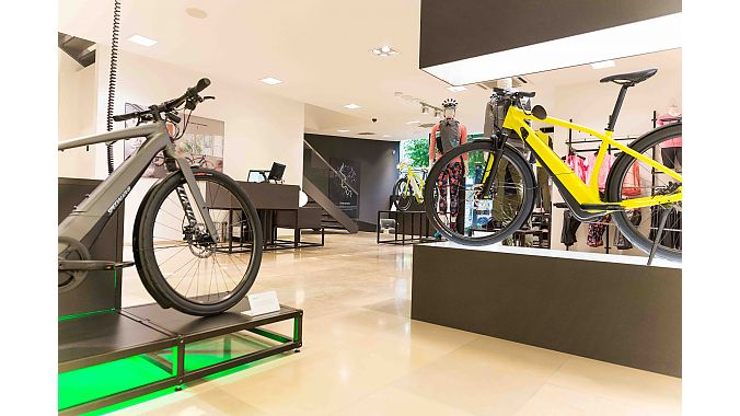 The pop-up showcases Specialized's Turbo pedal-assist line, as well as a small selection of apparel and riding accessories.