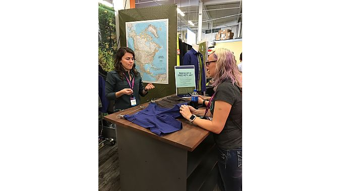 Lindsay Piper, product developer for QBP's newest brand, Ketl apparel, showed off its collection of simple, fashionable and functional mountain bike wear to St. Paul, Minnesota, retailer Alicia Vin Zant.