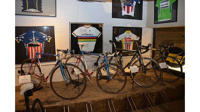 The shop serves as something of a museum for Armstrong's competitive race bikes, including this downstairs display highlight major victories from early in his career.