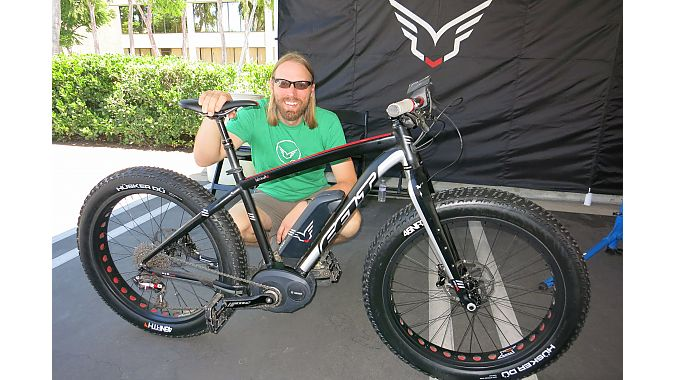 Zach Krapfl,e-bike brand manager, with the Bosch-equipped Lebowsk-e electric fat bike