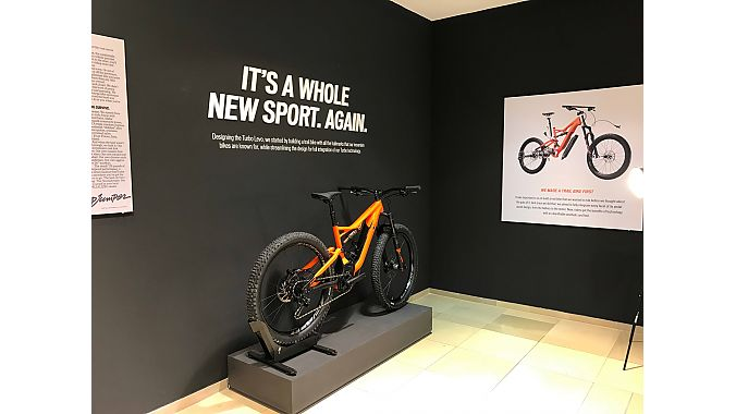 The second floor of the pop-up store highlights Specialized's Turbo Levo e-MTB.