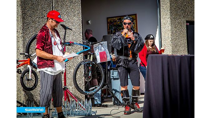 On his birthday last year, Andy Lightle (left) rallied industry and cyclists to raise money for the SoCal NICA league. Matt Gunnell (right) of the SoCal NICA league announced the lucky winner of an Intense Hard Eddy 29er.