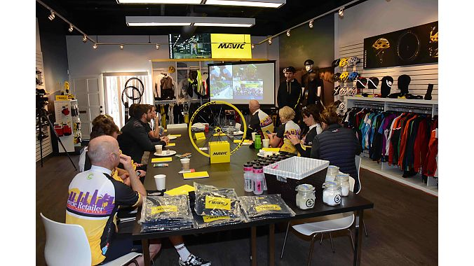 The first stop was Mavic's Yellow House (Le Maison Jaune) in Newbury Park, where the French wheel, shoe and soft goods manufacturer stages its West Coast neutral race and event support.