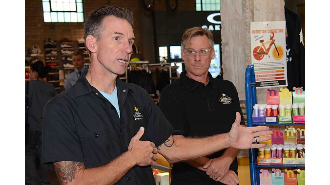 """Mellow Johnny's general manager Will Black (left) and marketing director David Mider gave us a tour of the massive shop that has become an international tourist destination. Shortly after our visit, Mider sent a BRAIN staffer an email saying in part: """"So about an hour after you left, Lance called to tell us he was just on bicyleretailer.com reading about the dealer tour. He asked, 'Hey. Why aren't we on this thing??' Will told him, 'don't worry, they just left. We will be.' Pretty funny. And that's a good e"""