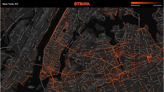 A Strava Metro map of New York City.