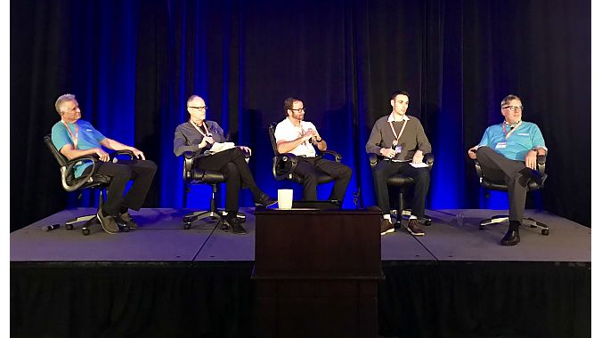 Pedego held an industry roundtable at its dealer meeting. Left to right: Pedego co-owner Terry Sherry, Bicycle Retailer contributing editor Doug McClellan, E-Bike Action magazine editor Tony Donaldson, Navigant Research's Ryan Citron and Pedego co-founder and CEO Don DiCostanzo.