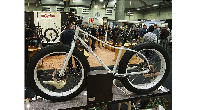 """Erik Noren of Peacock Groove showed a 24-inch fat bike with one-off Hed rims. """"Current fat bikes are really big — too big for many riders who like winter riding. Dropping down to a 24-inch rim, as you can see, not only makes the bike look like more fun, but it is just a better size for many riders,"""" he said."""