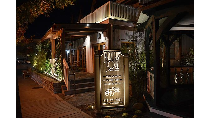 PeopleforBikes hosted a reception at the cycling-inspired Pedaler's Fork in Calabasas. Retailers, suppliers, sponsors and friends gathered to check out the on-premises bike shop and share food and drink on the last day of the tour.