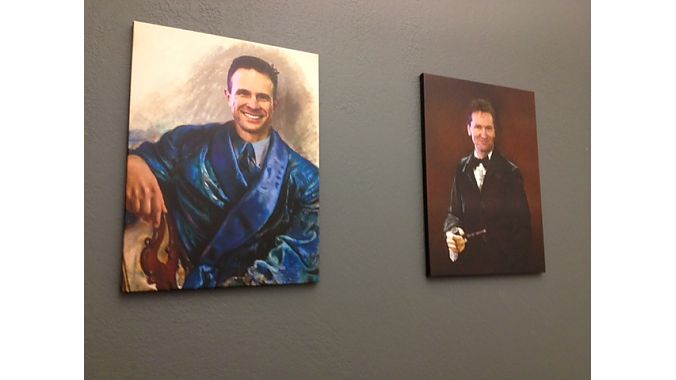 These portraits of Crankbrothers founders Carl Winefordner (left) and Frank Hermansen mysteriously appeared in the company conference room without either's knowledge on the first day of last week's media product launch.