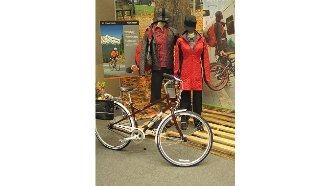 REI continues to ramp up its cycling apparel. Its fall line includes the quilted Biltmoore jacket for women and new plaid shirts with invisible threads of reflective material that show up at night.