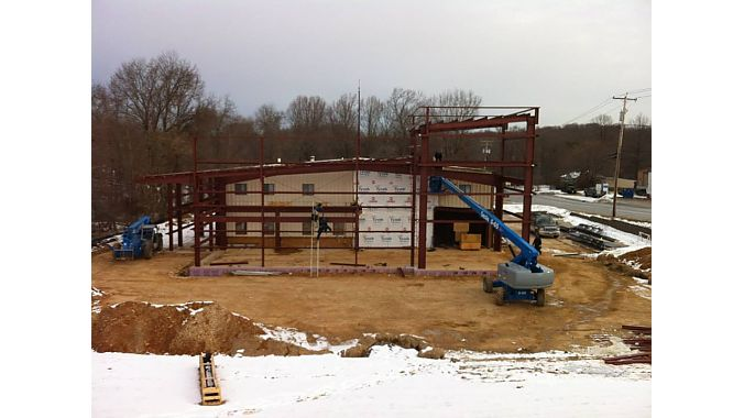 The building was stripped down to its steel structure.