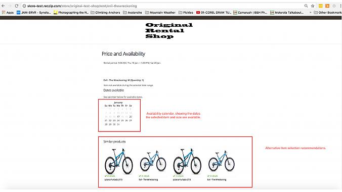Screenshot showing the availability calendar.
