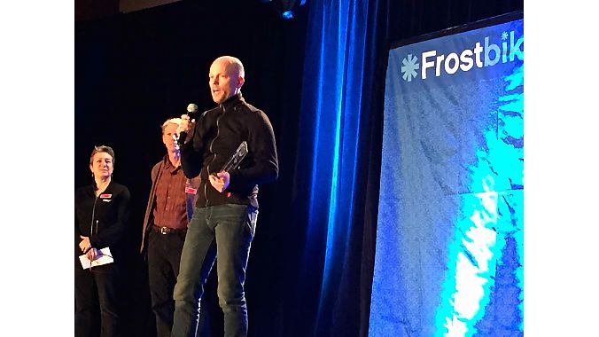 Kris Auer, owner of Twenty20 Cycling in Baltimore, accepted QBP's Londonderry award last night at Frostbike's opening dinner and reception. Acer was recognized for his efforts to level the playing field for female prize money in cyclocross racing.