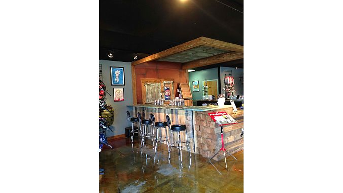 The new bar is made of reclaimed wood.