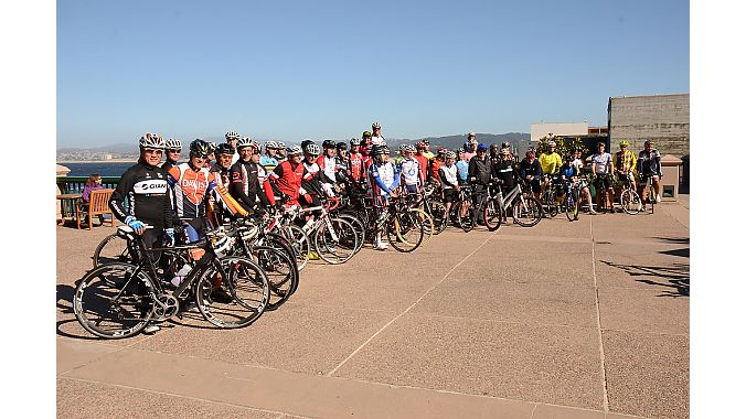 BIcycle Leadership Conference and IBD Summit attendees gather for a late-afternoon ride down the Monterey coast.