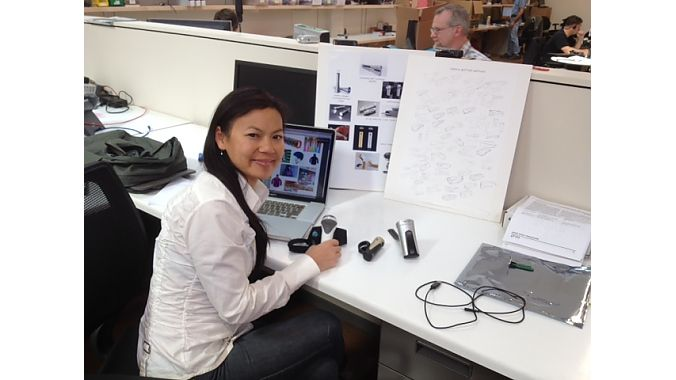 Designer Roxy Lo draws inspiration from inside and outside the bike industry, including her fashion experience (left). At right are preliminary concept sketches, with realized products on her desk.