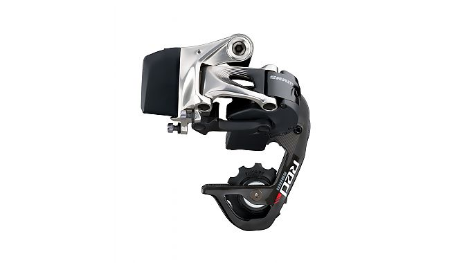 Red eTap rear derailleur with battery pack