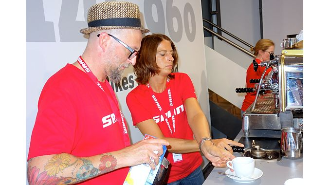 SRAM brought its staff's favorite espresso makers direct from Schweinfurt, Germany, the company's Euro' home. Michael Mangold opened the Viva Barista Espresso Club in Schweinfurt about six years ago. He said he expected to pull about 1,500 shots at Eurobike.