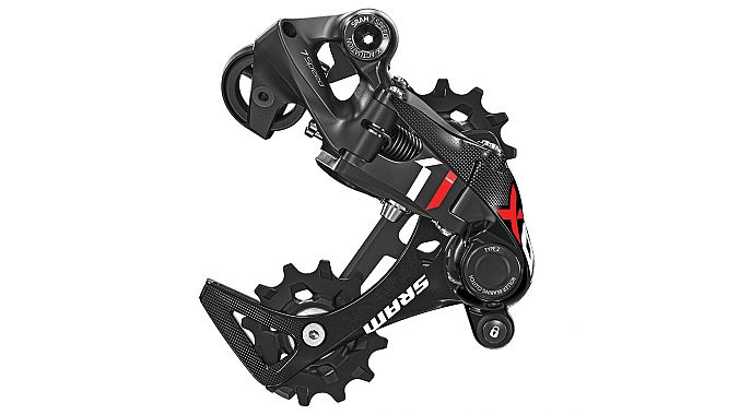 The new XO1 7-speed DH rear derailleur available in medium and long cages.