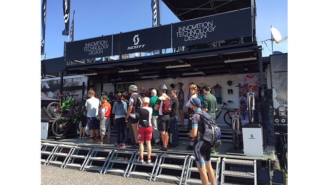 Scott's demo booth saw brisk traffic for its new 27.5-plus mountain bikes, among other models.