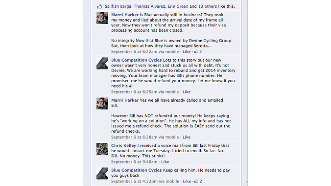 Part of a conversation on the Blue Facebook page.