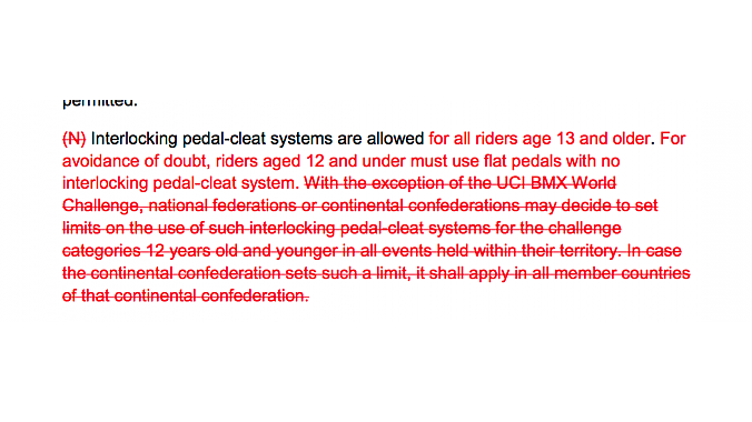 The text of the new UCI rule, which prevents national federations from setting their own clipless rules.