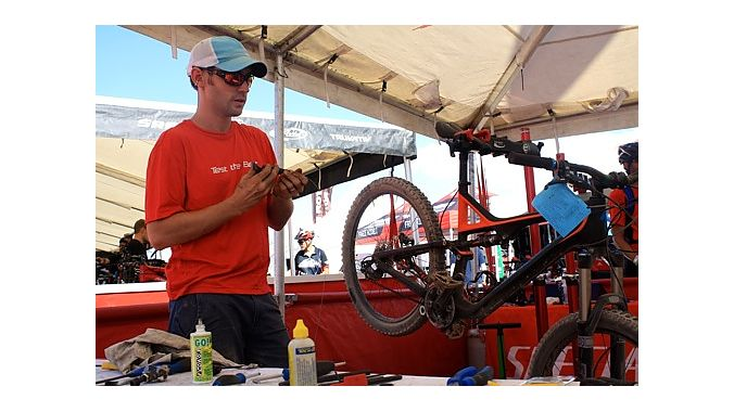Will Funk of Rochester, New York, prepares some Specialized demo bikes.