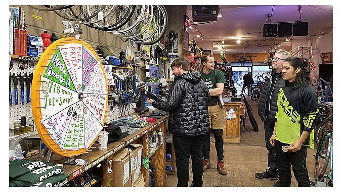 Several brands donated product, including bikes, to a raffle at 718.