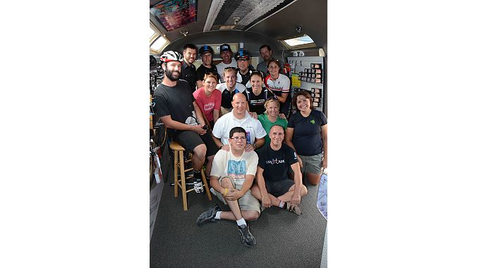 The Dealer Tour crew squeezes into the Airstream with Streamline partners Jesse Tonche (front left) and Brian Robbins (right front).