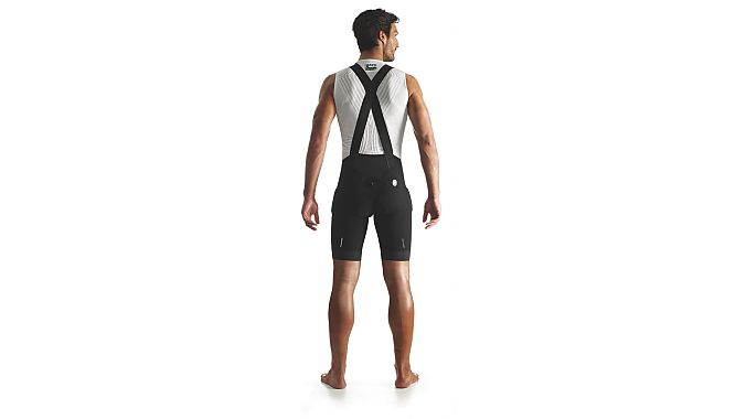 The crossed bib straps are a first for Assos.