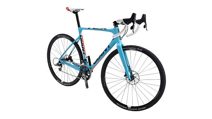 Giant's 2014 model year line includes the TCX Advanced, a carbon, disc brake cyclocross race bike with a sub-1050-gram frame. The bike features a 15 millimeter front thru-axle for steering and braking precision, asymetrical chainstays, internal cable routing, a D-shaped seatpost and roomy tire clearance: 50 millimeters front and 44 millimeters at the rear. Models includes the TCX Advanced O, with SRAM Red 22 drivetrain and Red hydraulic brakes, and the TCX Advanced 1 with SRAM Force drivetrain with SRAM S-S