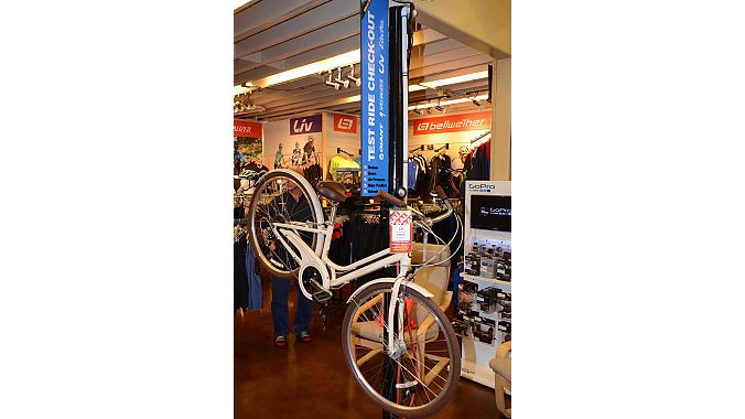 In a recent remodel, Wheel World installed a station for setting up demo bikes on the showroom floor, making it quick and easy to get people ready for test rides.